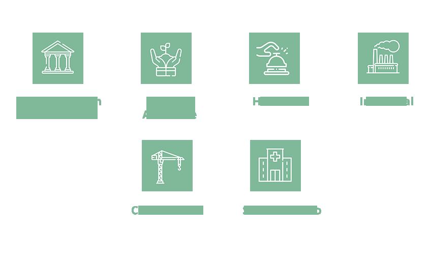 iconos blancos en círculo verde claro de los diferentes sectores para los que trabaja integracyl:Administración Pública, Medio Ambiente, Hostelería, Industrial, Construcción y sociosanitario